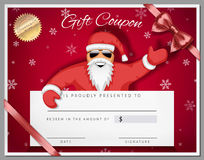 Gift certificate template as coupon with santa claus over red Stock Image