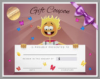 Gift certificate template as coupon with smile boy Stock Images