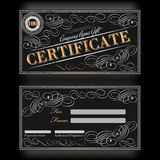 Gift certificate template black floral design Stock Photos