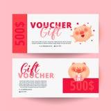 Gift certificate, Valentine`s Day voucher stock illustration