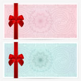 Gift certificate (Voucher, coupon). Bow, guilloche Royalty Free Stock Photography
