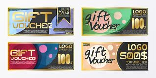Gift certificate voucher coupon card background template. Eps.10 Stock Images