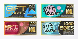 Gift certificate voucher coupon card background template. Eps.10 Stock Photos