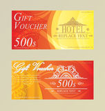 Gift certificate voucher coupon card Hotel,Restaurant  thai Stock Photo