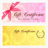 Gift certificate, Voucher, Coupon, Gift card template with stars and bow Stock Photos