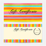 Gift certificate, Voucher, Coupon, Gift money bonus, Gift card template with colorful stripy (stripes, line pattern) background. Vector watercolor with rainbow Royalty Free Stock Photo
