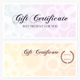 Gift certificate, Voucher, Coupon, Invitation or Gift card template with shiny texture. Background design for holiday gift banknote, check, gift money bonus Stock Photo