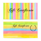 Gift certificate, Voucher, Coupon, money bonus, card template with colorful stripy (stripes, line pattern) background. Vector watercolor with rainbow texture Royalty Free Stock Images