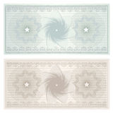 Gift certificate (Voucher, coupon). Pattern. Gift certificate, Voucher, Coupon template with guilloche pattern (watermark), border. Background for banknote Stock Photos