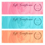Gift certificate, Voucher, Coupon, Reward / Gift card set template with floral rose silhouette (flower pattern). Background design Stock Image