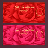 Gift certificate, Voucher, Coupon, Reward / Gift card template with rose (flowers pattern). Set of  floral feminine background Stock Photos