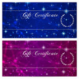 Gift certificate, Voucher, Coupon, Reward or Gift card template with sparkling, twinkling stars texture (pattern). Blue night sky Royalty Free Stock Images