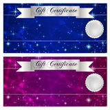 Gift certificate, Voucher, Coupon, Reward or Gift card template with sparkling, twinkling stars texture (pattern). Night sky Stock Image