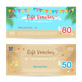 Gift certificate, voucher, coupon in summer background Stock Image