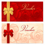 Gift certificate, Voucher, Coupon template. Bow, f. Voucher, Gift certificate, Coupon template with floral rose pattern, red and gold bow. Background for Stock Image
