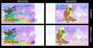 Funny banknotes of Atlantis with a Masonic sign. Stock Image