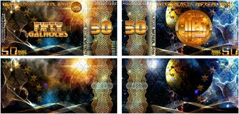 Fictional banknotes of the Intergalactic Imperial Bank. And also blank forms of banknotes. Stock Image