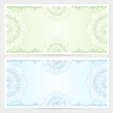 Gift certificate, Voucher, Coupon template. With guilloche pattern (watermark), border. Background for banknote, money design, currency, note, check (cheque) Stock Photography