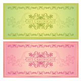 Gift certificate (Voucher, coupon) template. Gift certificate, Voucher, Coupon template (layout) with floral pattern (watermark), border. Background for Royalty Free Stock Photography