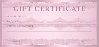 Gift certificate (Voucher, coupon) template. Gift certificate, Voucher, Coupon template (layout) with guilloche pattern (watermarks), border. Background for