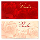 Gift certificate, Voucher, Coupon template. Rose f. Voucher, Gift certificate, Coupon template with floral rose pattern. Red background for invitation, money Royalty Free Stock Photo