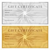 Gift certificate, Voucher, Coupon, ticket template. Guilloche pattern watermark, spirograph Stock Image