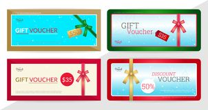 Gift certificate, voucher, gift card or cash coupon template in Stock Images