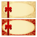 Gift Certificate (Voucher) Template. Bow, Pattern Royalty Free Stock Photography