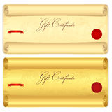 Gift certificate, Voucher template. Old scroll, pa. Gift certificate, Voucher, Coupon, template. Scroll with swirl pattern (old paper texture). Vintage Stock Photography