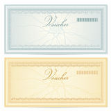 Gift certificate (Voucher) template. Pattern. Gift certificate / Voucher template with guilloche pattern (watermarks) and border. Background for coupon, banknote Royalty Free Stock Images