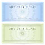 Gift certificate (Voucher) template with pattern. Gift certificate (Voucher) template with guilloche pattern (watermarks) and border. Background design for Royalty Free Stock Photos