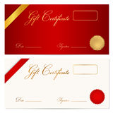 Gift certificate (Voucher) template. Wax seal. Voucher, Gift certificate, Coupon template with ribbon, seal wax. Background design for invitation, banknote Royalty Free Stock Image