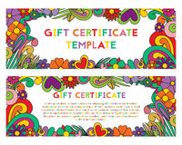 A gift certificate in zentangle style. Voucher with Zen tangle flower. Colorful greeting card. A gift certificate is decorated with flowers in zentangle style Stock Photos