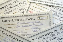 Gift Certificates. This is an image of various gift certificates royalty free stock photo