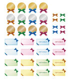 Gift certificates and medals with ribbon Stock Image