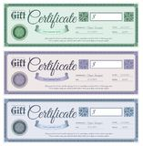 Gift Certificates Set. Gift promotion wedding certificates with filigree decor ornament set isolated vector illustration Royalty Free Stock Images