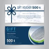 Gift certificates and vouchers template. Gift certificates and vouchers, discount coupon or banner web template with marble texture imitation background, clean Royalty Free Stock Image