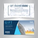 Gift certificates and vouchers template. Gift certificates and vouchers, discount coupon or banner web template with marble texture imitation background, clean Royalty Free Stock Images