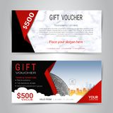Gift certificates and vouchers template. Gift certificates and vouchers, discount coupon or banner web template with marble texture imitation background, clean Stock Photo