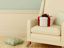 Gift on chair Stock Images