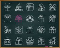 Gift chalk draw line icons vector set vector illustration
