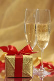 Gift and champagne Stock Photo