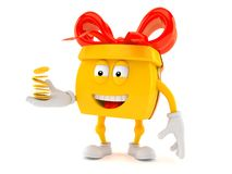 Gift character with coins Stock Image