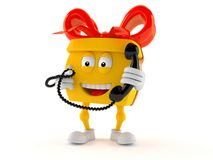 Gift character holding a telephone handset. On white background Royalty Free Stock Images