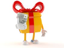 Gift character with money. On white background Royalty Free Stock Images