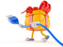 Gift character with network cable Royalty Free Stock Photo