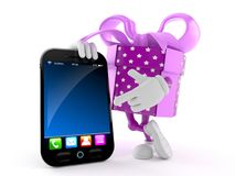 Gift character with smart phone. On white background Royalty Free Stock Image