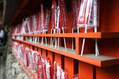 Gift checkboxes. For tourists in the shopping kiosk in the temple Fushimi Inari in Kyoto, Japan Stock Photos