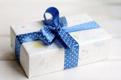Gift with children's drawings Stock Photos