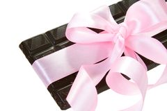 Gift Chocolate Bar with Pink Bow Royalty Free Stock Photography
